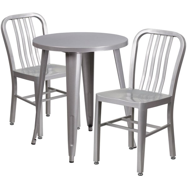 Flash Furniture Silver Indoor Outdoor Table Set with 2 Slat Back Chairs FLF-CH-51080TH-2-18VRT-SIL-GG