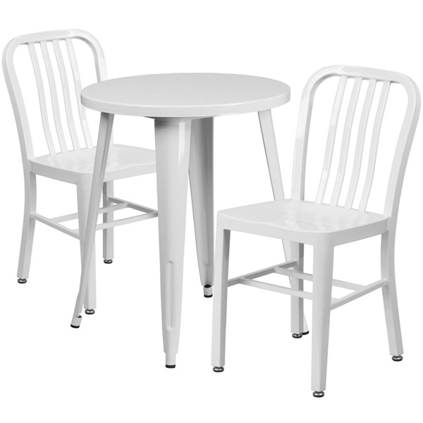 Flash Furniture White Indoor Outdoor Table Set with 2 Slat Back Chairs FLF-CH-51080TH-2-18VRT-WH-GG