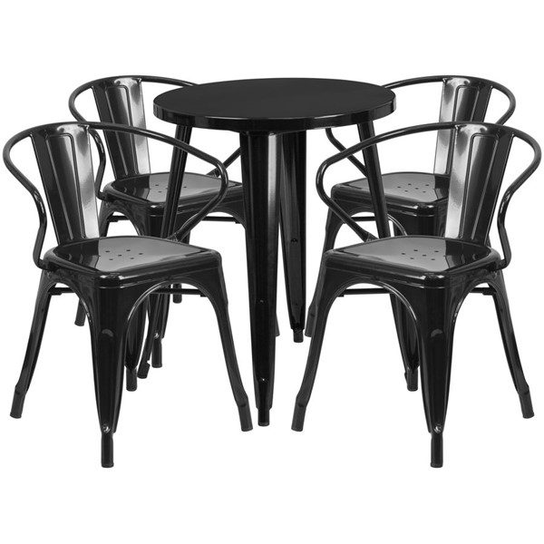 Flash Furniture Black Indoor Outdoor Table Set with 4 Arm Chairs FLF-CH-51080TH-4-18ARM-BK-GG