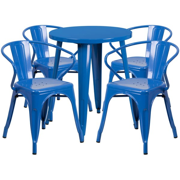 Flash Furniture Blue Indoor Outdoor Table Set with 4 Arm Chairs FLF-CH-51080TH-4-18ARM-BL-GG