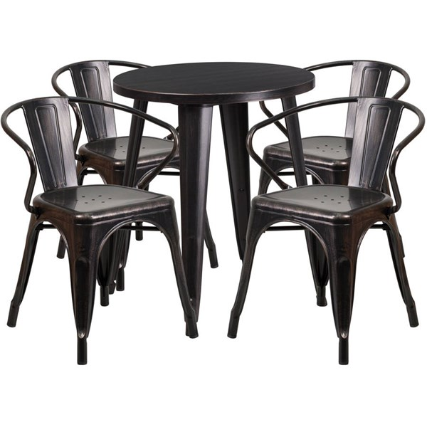 Black/Gold Metal Round Top Indoor Outdoor Table Set with 4 Arm Chairs FLF-CH-51080TH-4-18ARM-BQ-GG