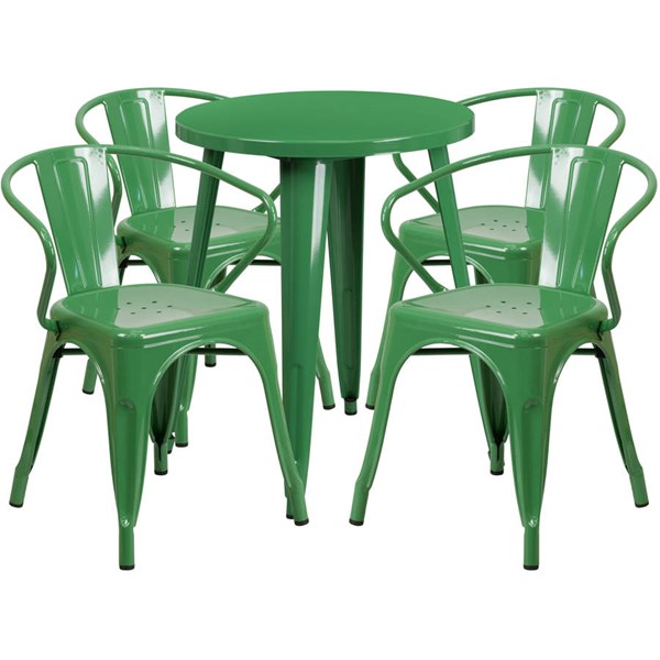 Flash Furniture Green Indoor Outdoor Table Set with 4 Arm Chairs FLF-CH-51080TH-4-18ARM-GN-GG