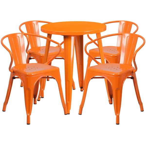Flash Furniture Orange Indoor Outdoor Table Set with 4 Arm Chairs FLF-CH-51080TH-4-18ARM-OR-GG
