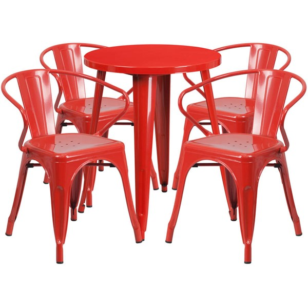 Flash Furniture Red Indoor Outdoor Table Set with 4 Arm Chairs FLF-CH-51080TH-4-18ARM-RED-GG