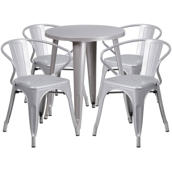 Silver Metal Round Top Indoor Outdoor Table Set with 4 Arm Chairs FLF-CH-51080TH-4-18ARM-SIL-GG