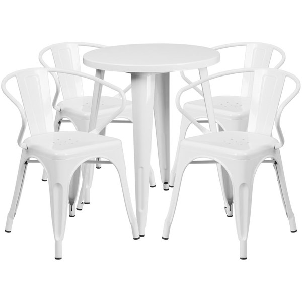 Flash Furniture White Indoor Outdoor Table Set with 4 Arm Chairs FLF-CH-51080TH-4-18ARM-WH-GG