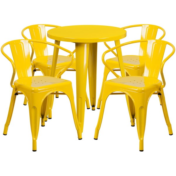 Flash Furniture Yellow Indoor Outdoor Table Set with 4 Arm Chairs FLF-CH-51080TH-4-18ARM-YL-GG