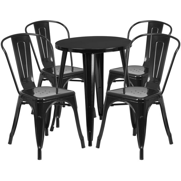 Flash Furniture Black Round Top Indoor Outdoor Table Set with 4 Cafe Chairs FLF-CH-51080TH-4-18CAFE-BK-GG