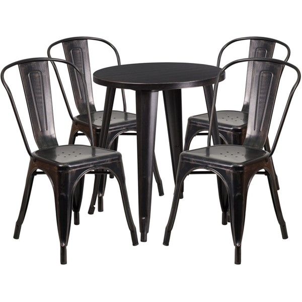 Flash Furniture Black Gold Round Top Indoor Outdoor Table Set with 4 Cafe Chairs FLF-CH-51080TH-4-18CAFE-BQ-GG
