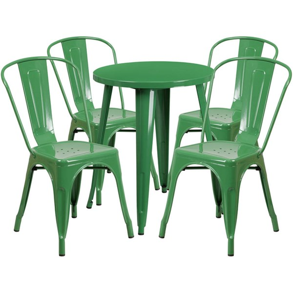 Flash Furniture Green Round Top Indoor Outdoor Table Set with 4 Cafe Chairs FLF-CH-51080TH-4-18CAFE-GN-GG