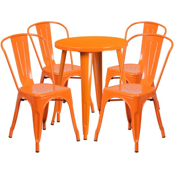 Flash Furniture Orange Round Top Indoor Outdoor Table Set with 4 Cafe Chairs FLF-CH-51080TH-4-18CAFE-OR-GG