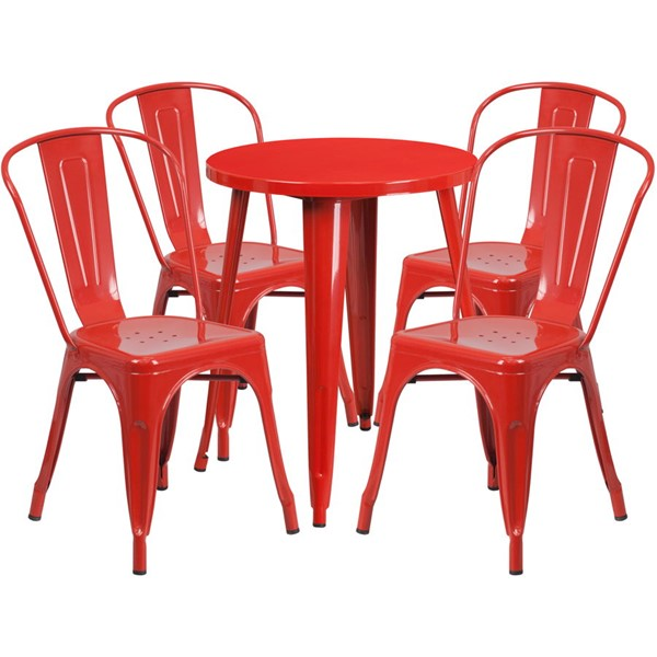 Flash Furniture Red Round Top Indoor Outdoor Table Set with 4 Cafe Chairs FLF-CH-51080TH-4-18CAFE-RED-GG