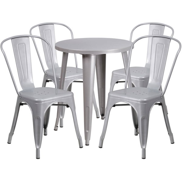 Silver Metal Round Top Indoor Outdoor Table Set with 4 Cafe Chairs FLF-CH-51080TH-4-18CAFE-SIL-GG
