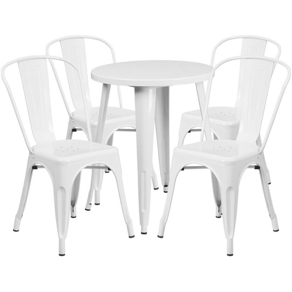 White Metal Round Top Indoor Outdoor Table Set with 4 Cafe Chairs FLF-CH-51080TH-4-18CAFE-WH-GG