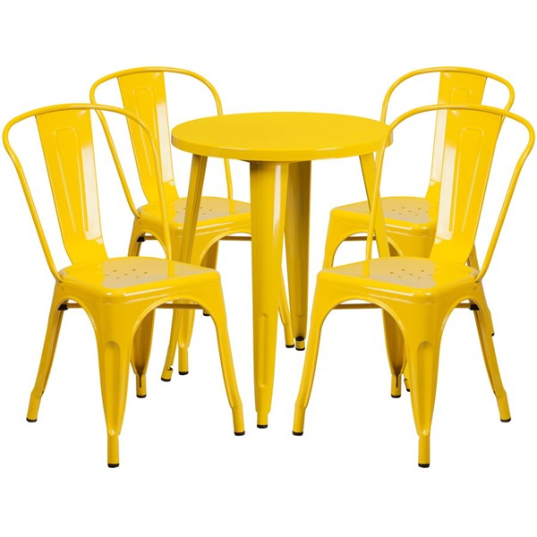 Flash Furniture Yellow Round Top Indoor Outdoor Table Set with 4 Cafe Chairs FLF-CH-51080TH-4-18CAFE-YL-GG