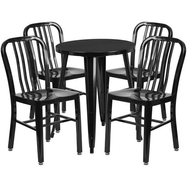 Flash Furniture Black Metal Round Top Indoor Outdoor Table Set with 4 Chairs FLF-CH-51080TH-4-18VRT-BK-GG