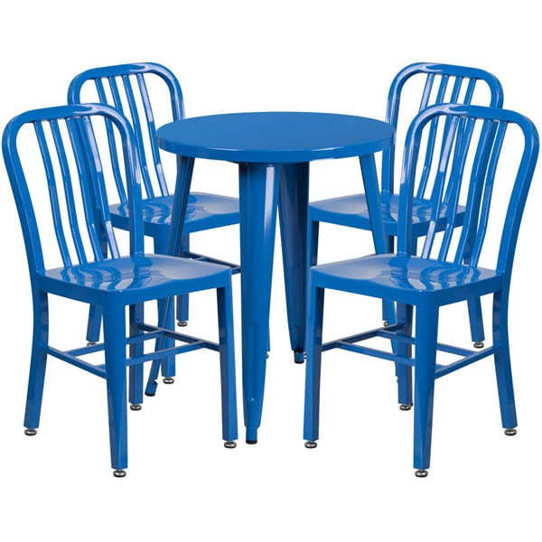 Flash Furniture Blue Metal Round Top Indoor Outdoor Table Set with 4 Chairs FLF-CH-51080TH-4-18VRT-BL-GG