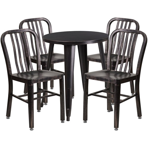 Flash Furniture Black Gold Metal Round Top Indoor Outdoor Table Set with 4 Chairs FLF-CH-51080TH-4-18VRT-BQ-GG