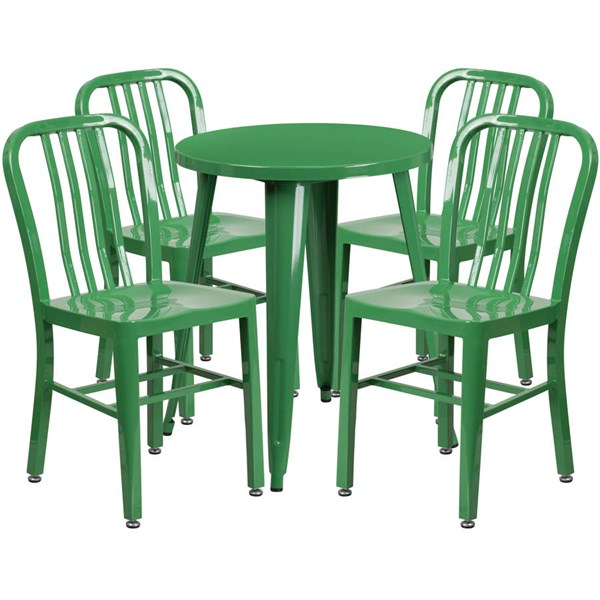 Flash Furniture Green Metal Round Top Indoor Outdoor Table Set with 4 Chairs FLF-CH-51080TH-4-18VRT-GN-GG