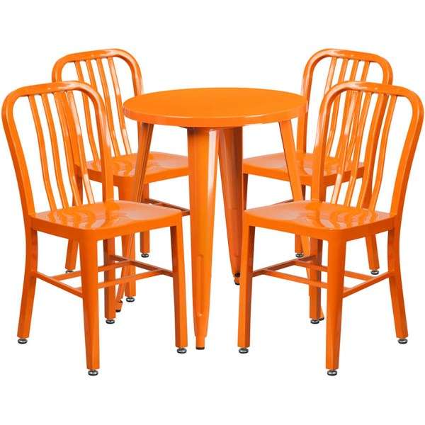 Flash Furniture Orange Metal Round Top Indoor Outdoor Table Set with 4 Chairs FLF-CH-51080TH-4-18VRT-OR-GG