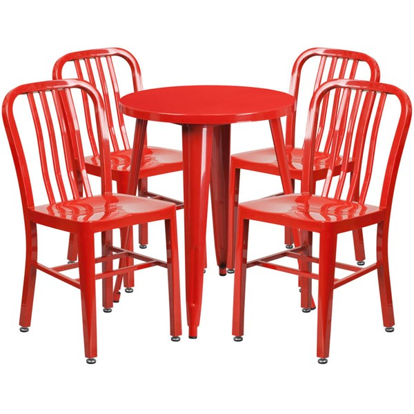 Flash Furniture Red Metal Round Top Indoor Outdoor Table Set with 4 Chairs FLF-CH-51080TH-4-18VRT-RED-GG