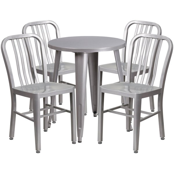 Silver Metal Round Top Indoor Outdoor Table Set with 4 Slat Back Chairs FLF-CH-51080TH-4-18VRT-SIL-GG