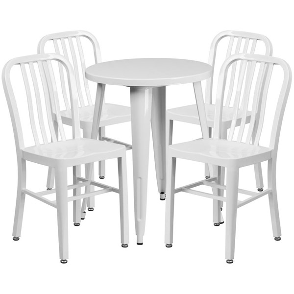 Flash Furniture White Metal Round Top Indoor Outdoor Table Set with 4 Chairs FLF-CH-51080TH-4-18VRT-WH-GG