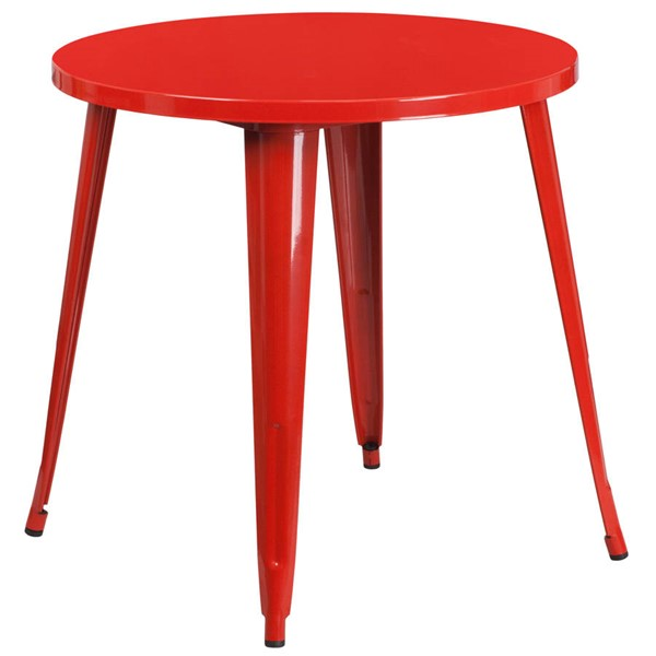 Flash Furniture Red 30 Inch Round Solid Top Indoor Outdoor Table FLF-CH-51090-29-RED-GG