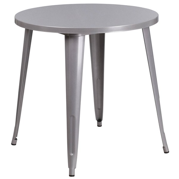Silver Metal 30 Inch Round Solid Top Indoor Outdoor Table FLF-CH-51090-29-SIL-GG