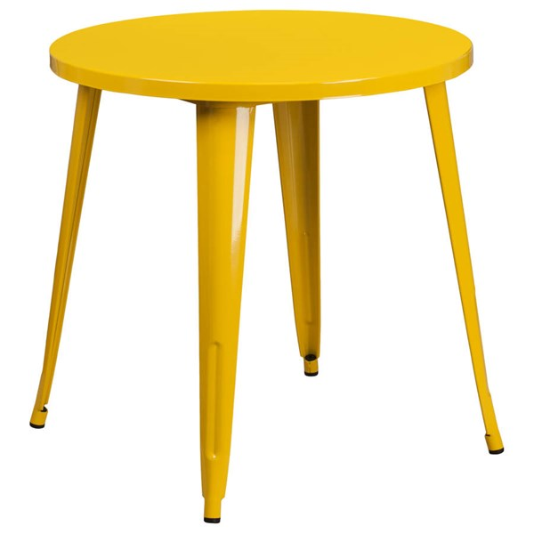 Yellow Metal 30 Inch Round Solid Top Indoor Outdoor Table FLF-CH-51090-29-YL-GG