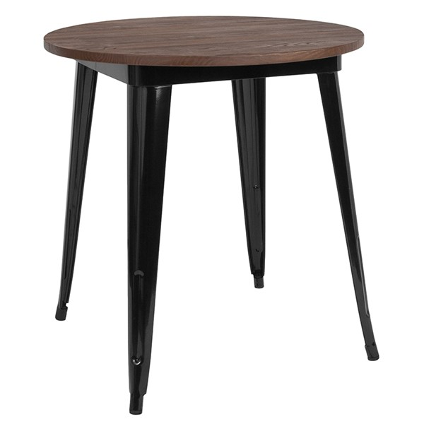 Flash Furniture Black 26 Round Metal Table FLF-CH-51090-29M1-BK-GG