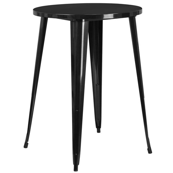 Flash Furniture Black 30 Inch Round Solid Top Indoor Outdoor Bar Height Table FLF-CH-51090-40-BK-GG