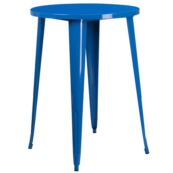 Flash Furniture Blue 30 Inch Round Solid Top Indoor Outdoor Bar Height Table FLF-CH-51090-40-BL-GG