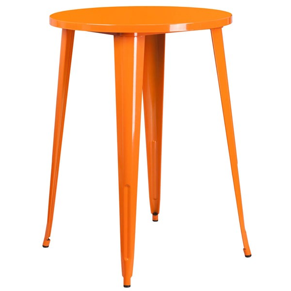 Flash Furniture Orange 30 Inch Round Solid Top Indoor Outdoor Bar Height Table FLF-CH-51090-40-OR-GG