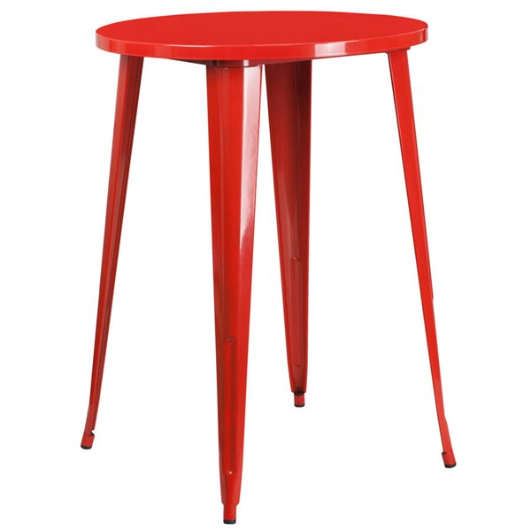 Flash Furniture Red 30 Inch Round Solid Top Indoor Outdoor Bar Height Table FLF-CH-51090-40-RED-GG
