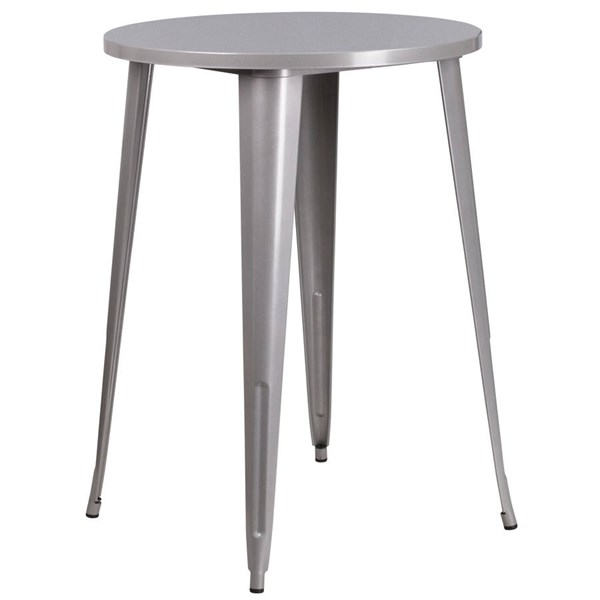Flash Furniture Silver 30 Inch Round Solid Top Indoor Outdoor Bar Height Table FLF-CH-51090-40-SIL-GG