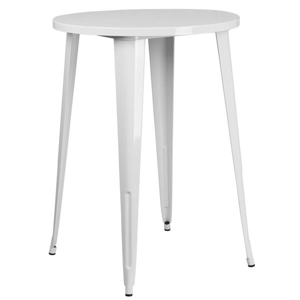 Flash Furniture White 30 Inch Round Solid Top Indoor Outdoor Bar Height Table FLF-CH-51090-40-WH-GG