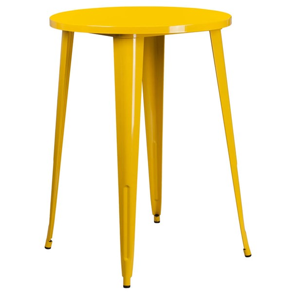 Flash Furniture Yellow 30 Inch Round Solid Top Indoor Outdoor Bar Height Table FLF-CH-51090-40-YL-GG
