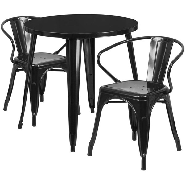Flash Furniture Black Metal Round Top Indoor Outdoor Table Set with 2 Arm Chairs FLF-CH-51090TH-2-18ARM-BK-GG