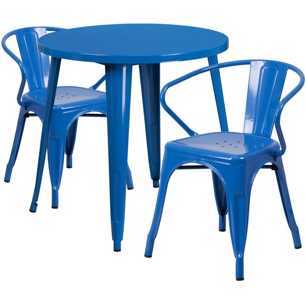 Flash Furniture Blue Metal Round Top Indoor Outdoor Table Set with 2 Arm Chairs FLF-CH-51090TH-2-18ARM-BL-GG