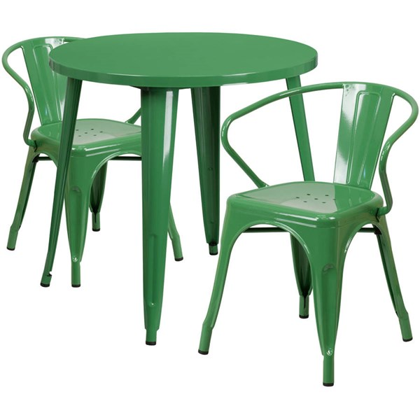 Flash Furniture Green Metal Round Top Indoor Outdoor Table Set with 2 Arm Chairs FLF-CH-51090TH-2-18ARM-GN-GG