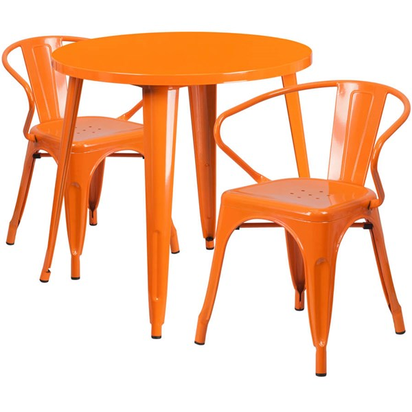 Orange Metal Round Top and 2 Arm Chairs Indoor Outdoor Table Set FLF-CH-51090TH-2-18ARM-OR-GG