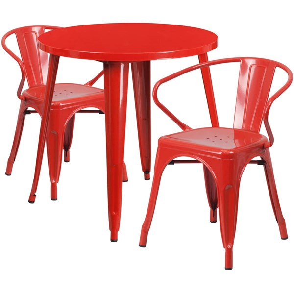 Flash Furniture Red Metal Round Top Indoor Outdoor Table Set with 2 Arm Chairs FLF-CH-51090TH-2-18ARM-RED-GG