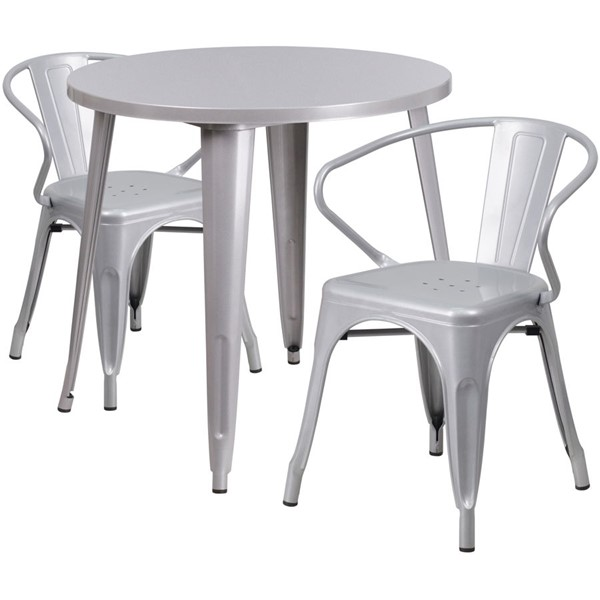 Flash Furniture Silver Metal Round Top Indoor Outdoor Table Set with 2 Arm Chairs FLF-CH-51090TH-2-18ARM-SIL-GG