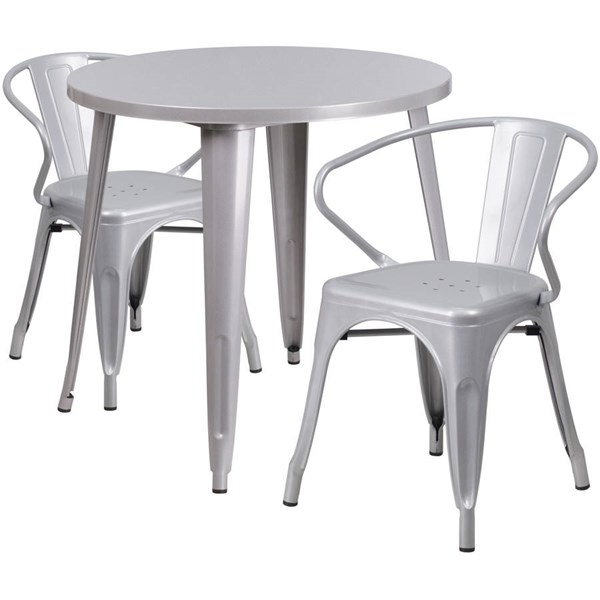 Silver Metal Round Top and 2 Arm Chairs Indoor Outdoor Table Set FLF-CH-51090TH-2-18ARM-SIL-GG