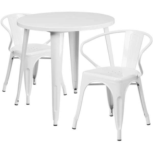 Flash Furniture White Metal Round Top Indoor Outdoor Table Set with 2 Arm Chairs FLF-CH-51090TH-2-18ARM-WH-GG