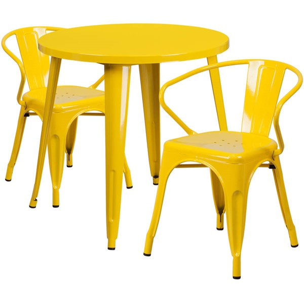 Flash Furniture Yellow Metal Round Top Indoor Outdoor Table Set with 2 Arm Chairs FLF-CH-51090TH-2-18ARM-YL-GG