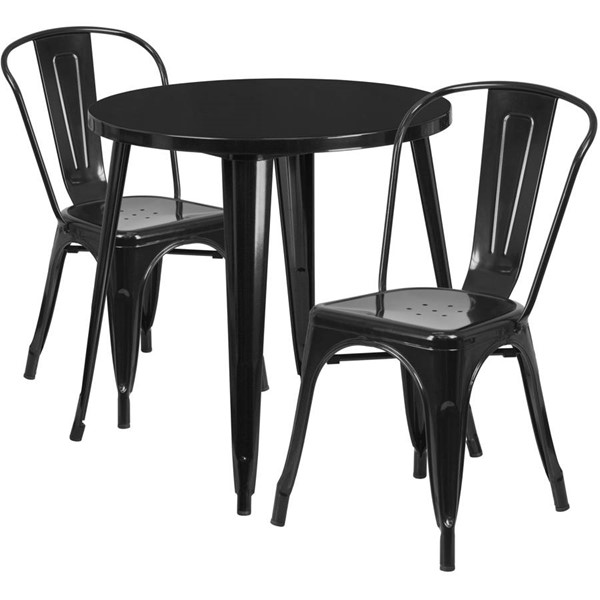 Flash Furniture Black Metal Indoor Outdoor Table Set with 2 Cafe Chairs FLF-CH-51090TH-2-18CAFE-BK-GG