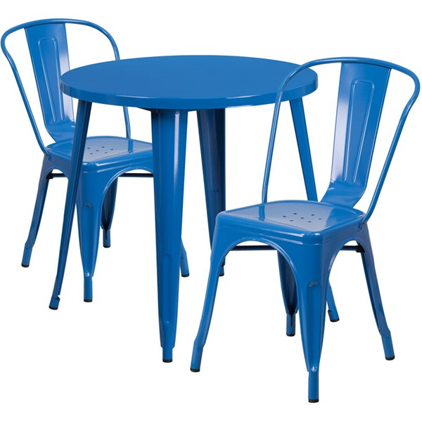 Flash Furniture Blue 30 Round Metal Set FLF-CH-51090TH-2-18CAFE-BL-GG