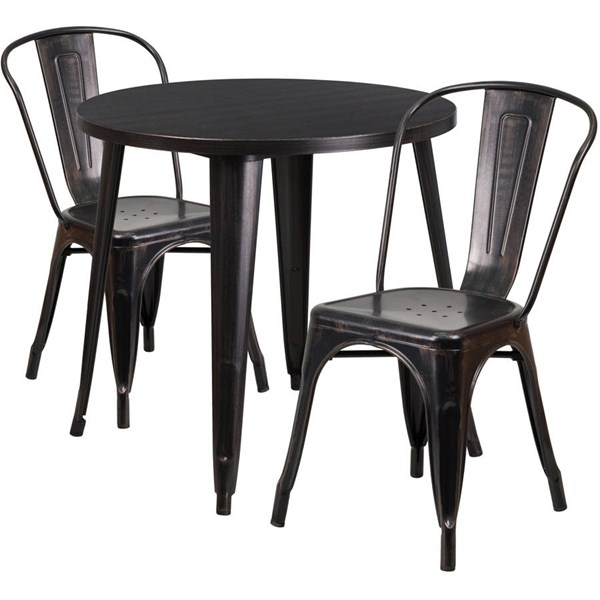Flash Furniture Black Gold Metal Indoor Outdoor Table Set with 2 Cafe Chairs FLF-CH-51090TH-2-18CAFE-BQ-GG